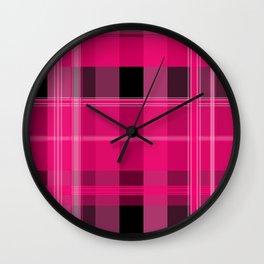 Shades of Pink and Black Plaid Wall Clock