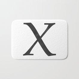 Letter X Initial Monogram Black and White Bath Mat