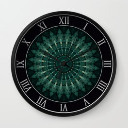 Malachite green mandala Wall Clock