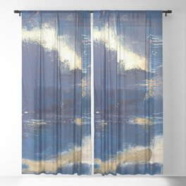 Halo [2]: a minimal, abstract mixed-media piece in blue and gold by Alyssa Hamilton Art Sheer Curtain