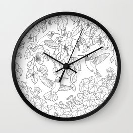Hummingbirds and Flowers Coloring Page Wall Clock