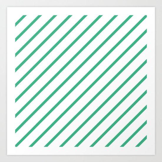 Diagonal Lines (Mint/White) Art Print