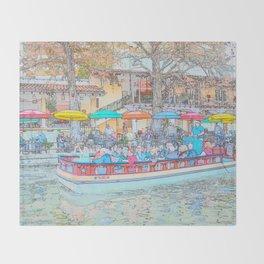 Ride Down The River - San Antonio, Texas Throw Blanket