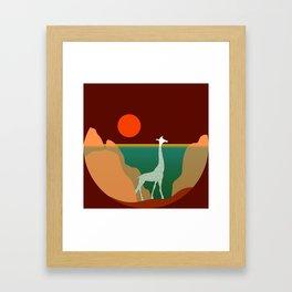 Giraffe Aquatic Scene Framed Art Print