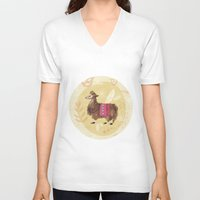 llama V-neck T-shirts featuring Llama by Juliana Cuervo