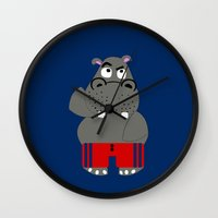 hippo Wall Clocks featuring Hippo by lescapricesdefilles