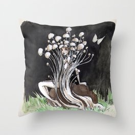 Empire of Mushrooms: Flammulina Velutipes Throw Pillow