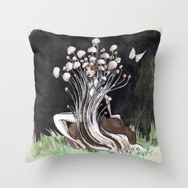 Empire of Mushrooms: Flammulina Velutipes Throw Pillow