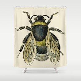 Vintage Bee Illustration Shower Curtain