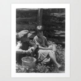 Doris Ulmann 1882-1934, Portrait of Boy and girl seated in a garden, holding buckets Art Print