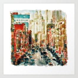 Winter in Chinatown - New York Art Print