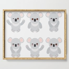 Funny cute koala set on white background Serving Tray