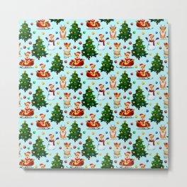 Blue Christmas - From Corgis, Santa And Christmas Trees Metal Print