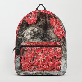 Pink red ivy leaves autumn stone wall Backpack