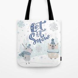 Let It Snow Winter Fun Illustration Tote Bag