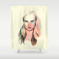 cara Shower Curtains featuring Cara by Beth Zimmerman Illustration