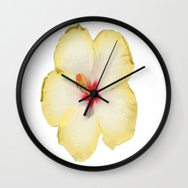 Yellow Hibiscus Flower Vector Wall Clock