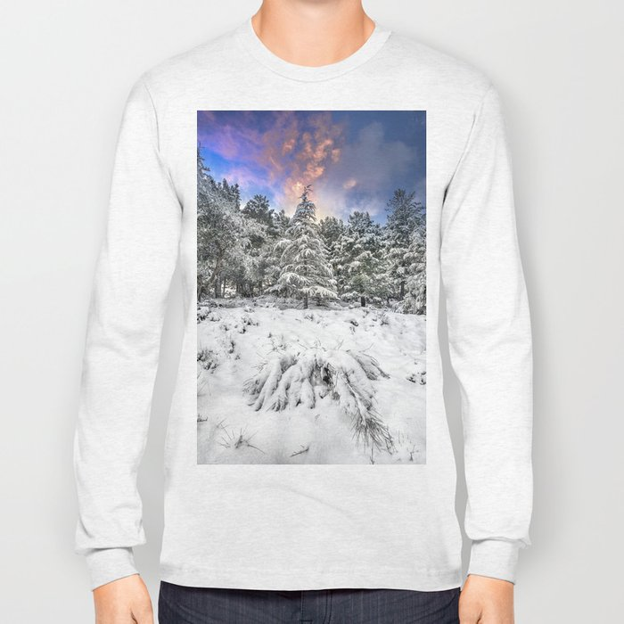 """""""Mountain Light IV"""" Snowy Forest At Sunset Long Sleeve T-shirt"""