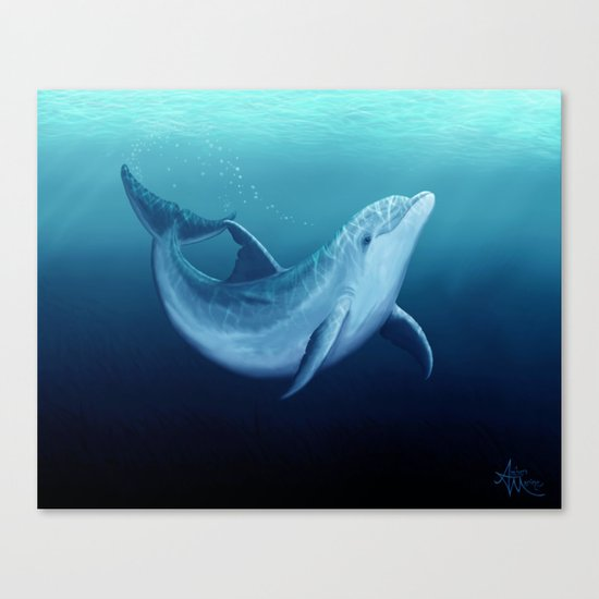 """""""Riversoul Blue"""" by Amber Marine ~ Dolphin Art, (c) 2015 Canvas Print"""