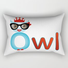 Cute owl wearing glasses and a crown Rectangular Pillow