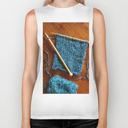 knitting photo, denim, denim photo, blue, wood, knitting, knit, brown, Biker Tank
