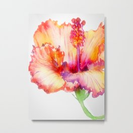 Bright Hibiscus Floral Water color Metal Print