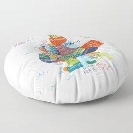 map of brooklyn Floor Pillow
