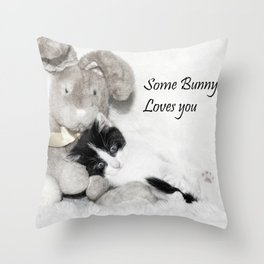 Easter bunny and kitten Throw Pillow