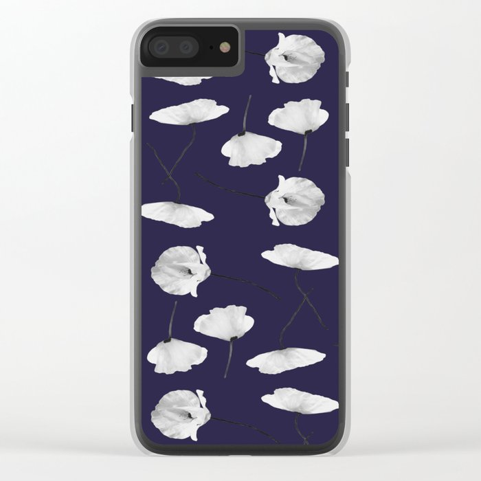 Poppies pattern on dark blue Clear iPhone Case