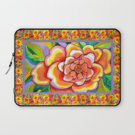 Peach Peonies with Border Laptop Sleeve