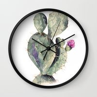 cactus Wall Clocks featuring CACTUS by Annet Weelink Design