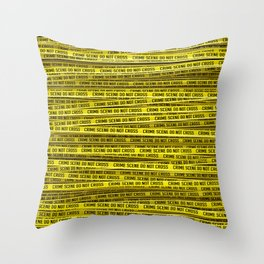 Crime scene / 3D render of endless crime scene tape Throw Pillow