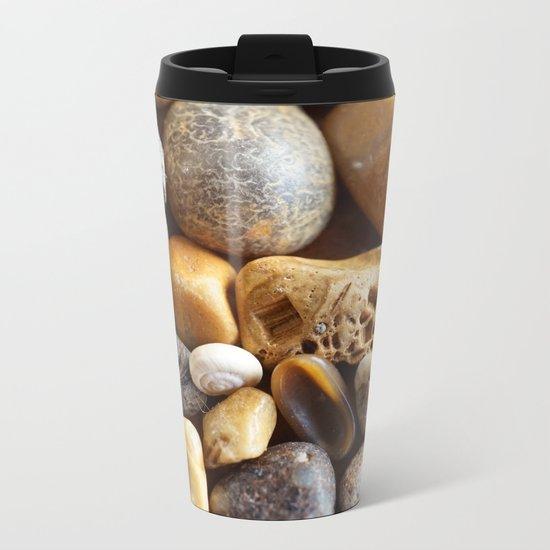 Pebbles on a Beach Metal Travel Mug