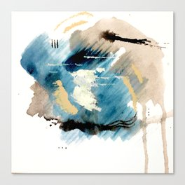 You are an Ocean - abstract India Ink & Acrylic in blue, gray, brown, black and white Canvas Print
