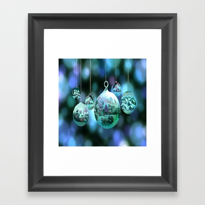 Christmas Bulbs.Christmas Bulbs In Blue Framed Art Print By Pat71896