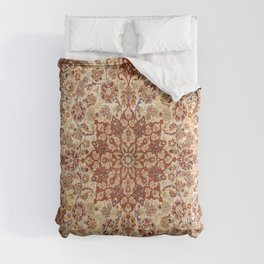 Persia Isfahan 19th Century Authentic Colorful Muted Cream Blush Tan Vintage Patterns Comforters