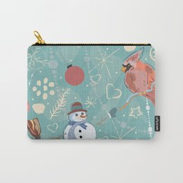 Seamless Winter Pattern with Christmas Ornaments Carry-All Pouch