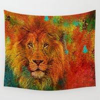 lion king Wall Tapestries featuring Lion  by Saundra Myles