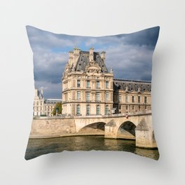 Pont Royal and Palais du Louvre - Paris Throw Pillow
