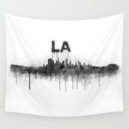 Los Angeles City Skyline HQ v5 BW Wall Tapestry
