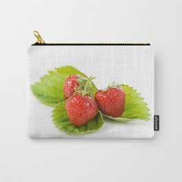 Three fresh strawberries fruits lying Carry-All Pouch