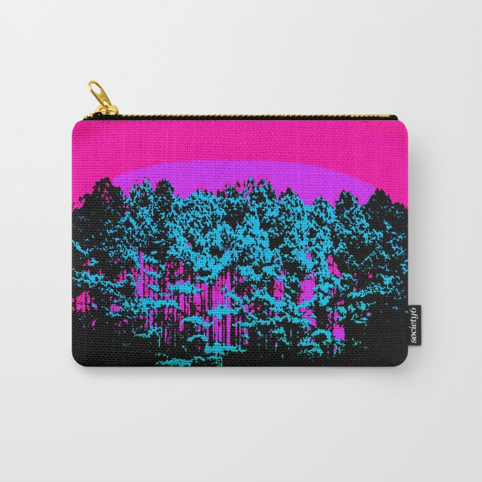 Mod Trees: Fuchsia Purple Turquoise Carry-All Pouch
