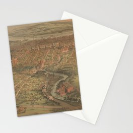 Vintage Pictorial Map of Hartford Connecticut (1864) Stationery Cards