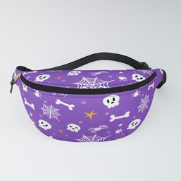 Happy halloween pattern with bones, webs, skulls and spiders Fanny Pack