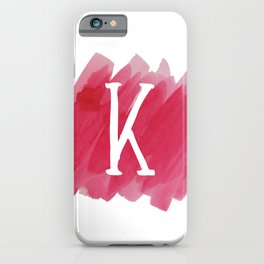 Letter K Pink Watercolor iPhone Case