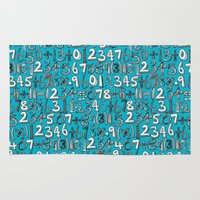 math Area & Throw Rugs featuring math doodle blue by Sharon Turner