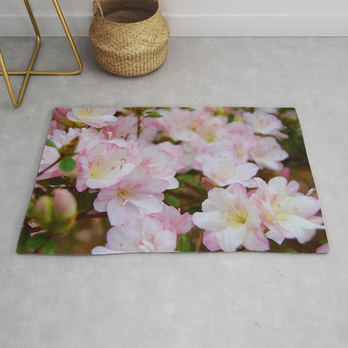 Blooming Azalea Flowers Rug