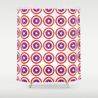 agents of shield Shower Curtains featuring Shield (W) by Luca Draws