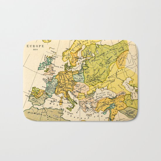 Europe in 1135 - Vintage Map Collection Bath Mat