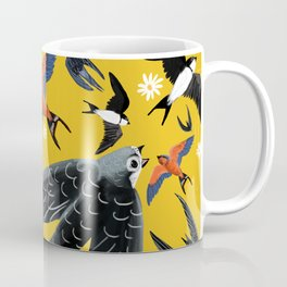 Swallows Martins and Swift pattern Yellow Coffee Mug